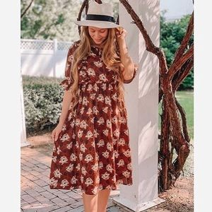 Brown Floral Ruffle Dress